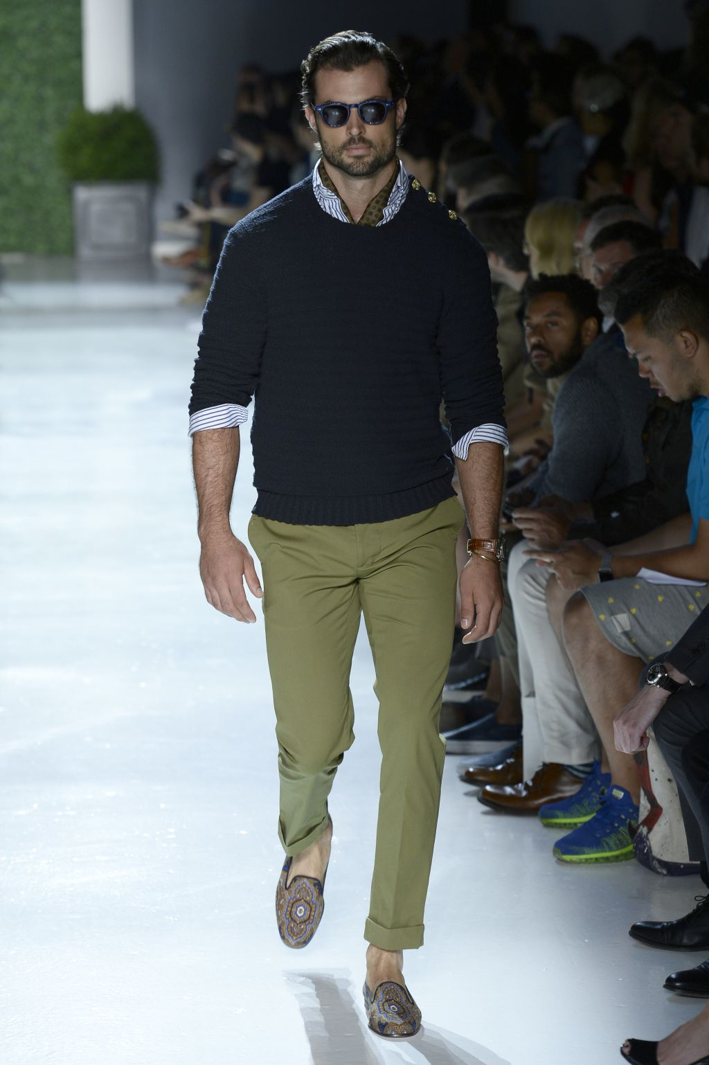 NEW YORK, NY - JULY 15:  A model walks at Michael Bastian Runway at New York Fashion Week: Men's S/S 2016 at Skylight Clarkson Sq on July 15, 2015 in New York City.  (Photo by Fernanda Calfat/Getty Images)