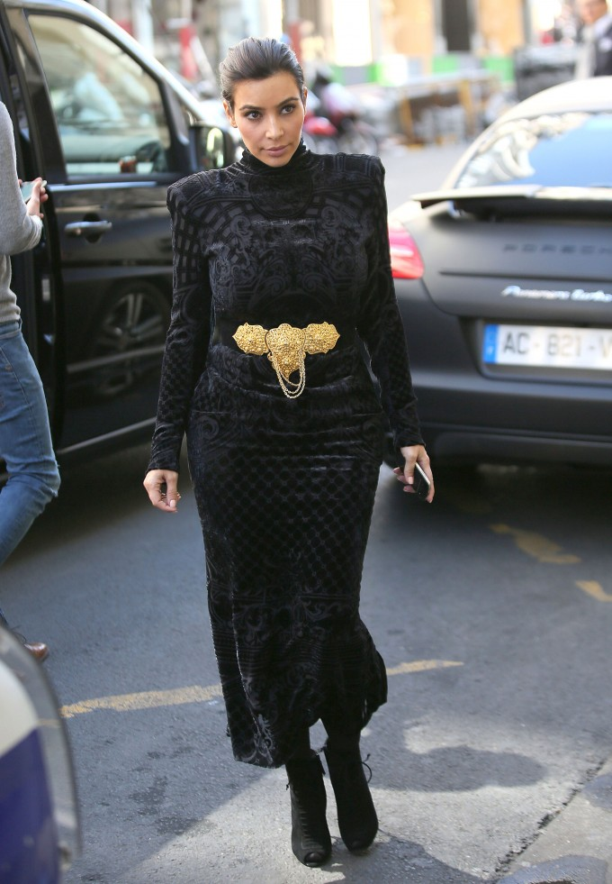 51383530 Reality star Kim Kardashian and her fiance Kanye West walk hand-in-hand as they go shopping in Givenchy, Balmain and Lanvin on April 14, 2014 in Paris, France. Before arriving at Lanvin, Kim Kardashian changed her dress in the van! FameFlynet, Inc - Beverly Hills, CA, USA - +1 (818) 307-4813 RESTRICTIONS APPLY: USA ONLY