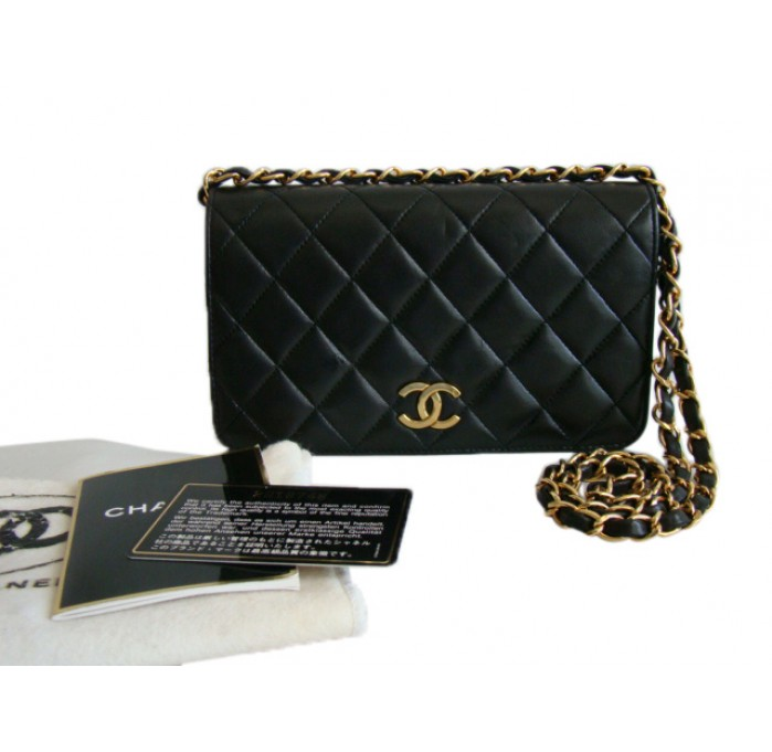 Chanel Black Lambskin Mini Flap Shoulder Bag