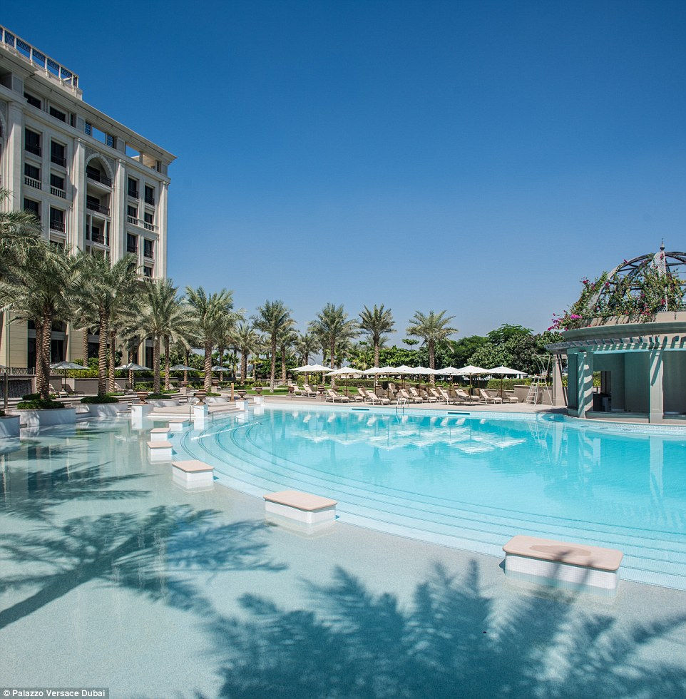 When it's time to relax, guests at Palazzo Versace Dubai can retreat to three outdoor pools, a full-service spa or reflection ponds