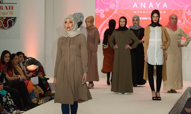 A catwalk show at the Saverah expo in London this year – a fashion, lifestyle and networking event billed as Muslim women's 'ultimate day out'. Photograph: Christian Sinibaldi for the Guardian