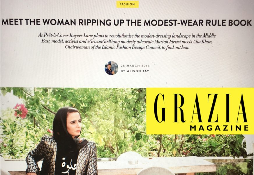 IFDC's Grazia Magazine feature (Islamic design, Modest Lifestyle, Modest fashion, Alia Khan)